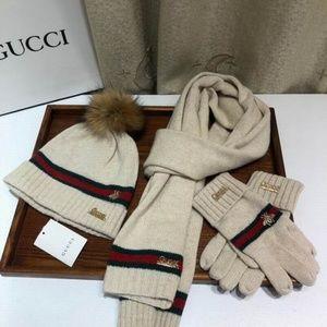 GG scarves beanie gloves set (never used)